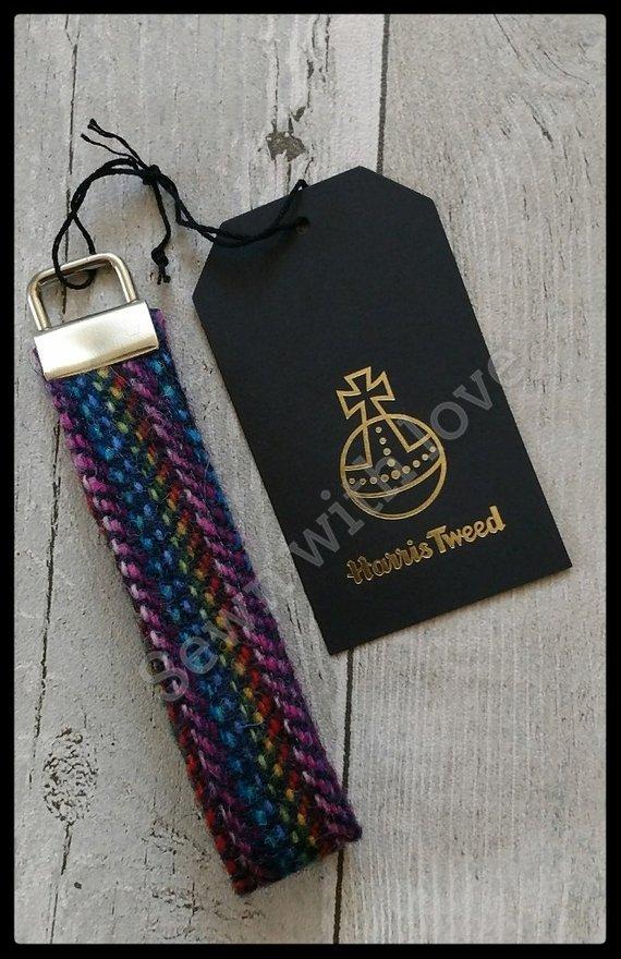 Scottish gifts for him - Harris Tweed key fob