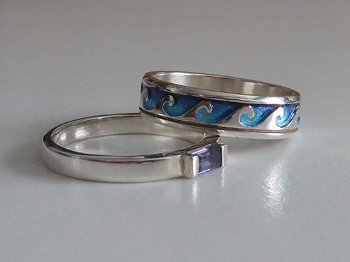 Hebridean Jewellery Iolite Silver Ring & Sheila Fleet Breckon Ring