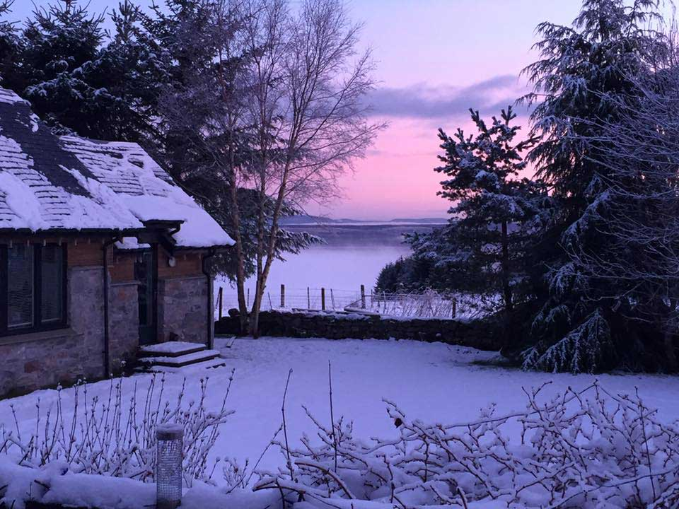 Pinewood Steading - winter sunrise on a snowy morning