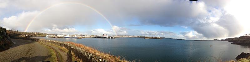 Rainbow over sea in Stornoway