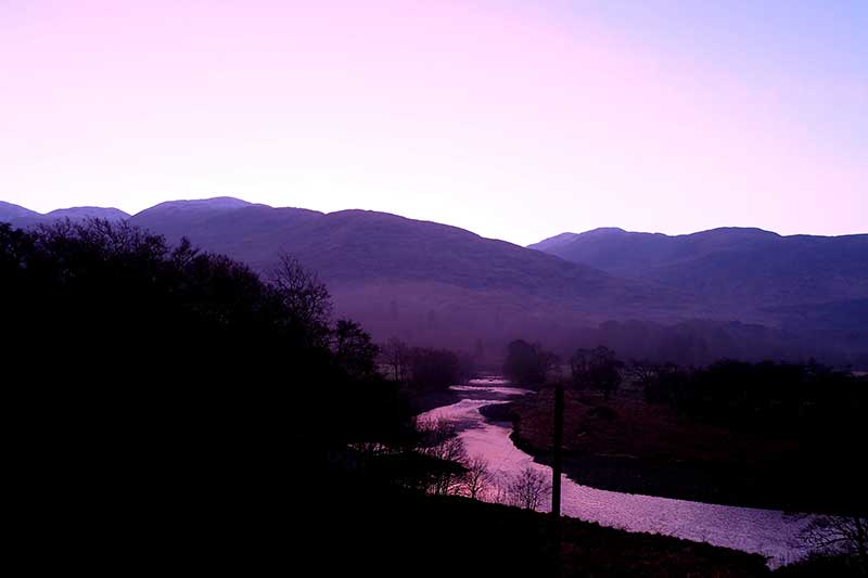 Port Appin - Our view - as if not incredible enough - enhanced by a magnificent pink sunset