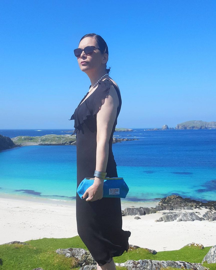 Scottish gifts for her - Harris tweed clutch bag