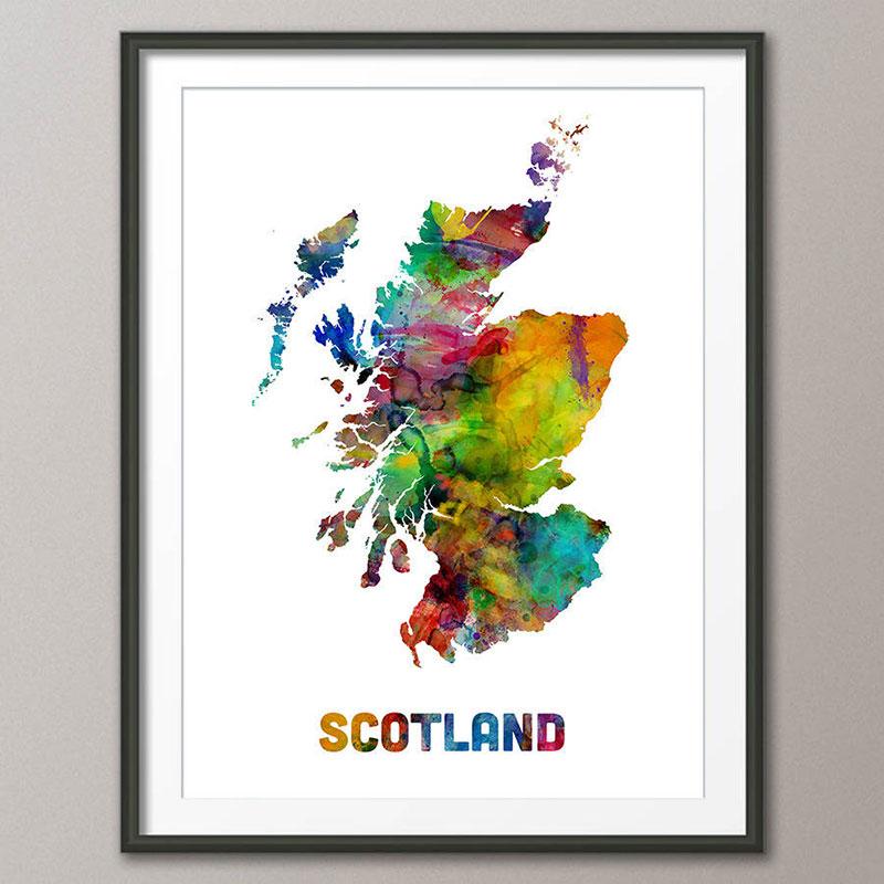 Scottish gifts for men - Scotland map watercolour